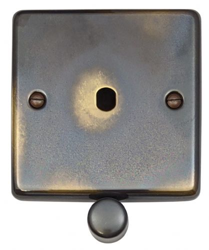 G&H CAN11-PK Standard Plate Polished Aged Brass 1 Gang Dimmer Plate Only inc Dimmer Knobs